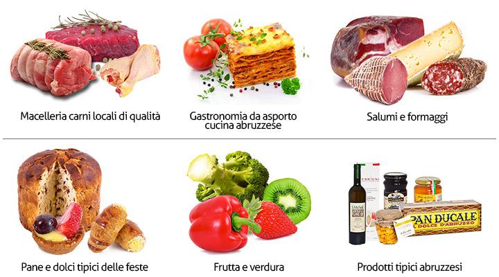 Prodotti tipici abruzzesi, carne, salumi, formaggi, liquori, dolci
